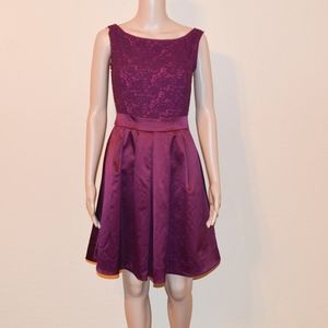 The Limited Burgundy Crochet & Satin Flare Dress